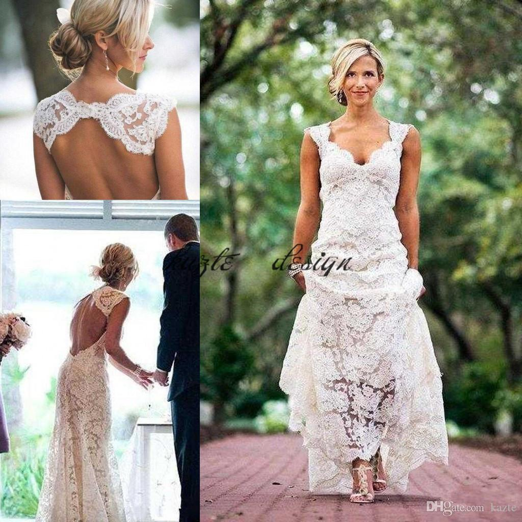 Discount Vintage Lace Cap Sleeve Country Garden Wedding Dresses 2018