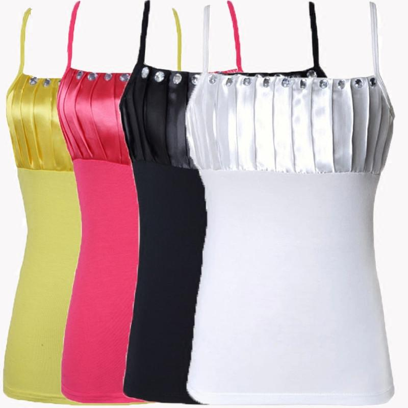 2017 NEW Modal cotton fashion ladies Sling sexy underclothing low-cut women's Diamond Tank tops black white yellow rose red