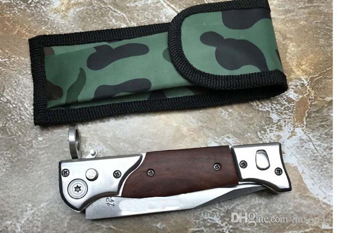 Atacado AUTO automático punho de madeira faca Camping Caça faca de Sobrevivência Cowskin bainha Frete grátis