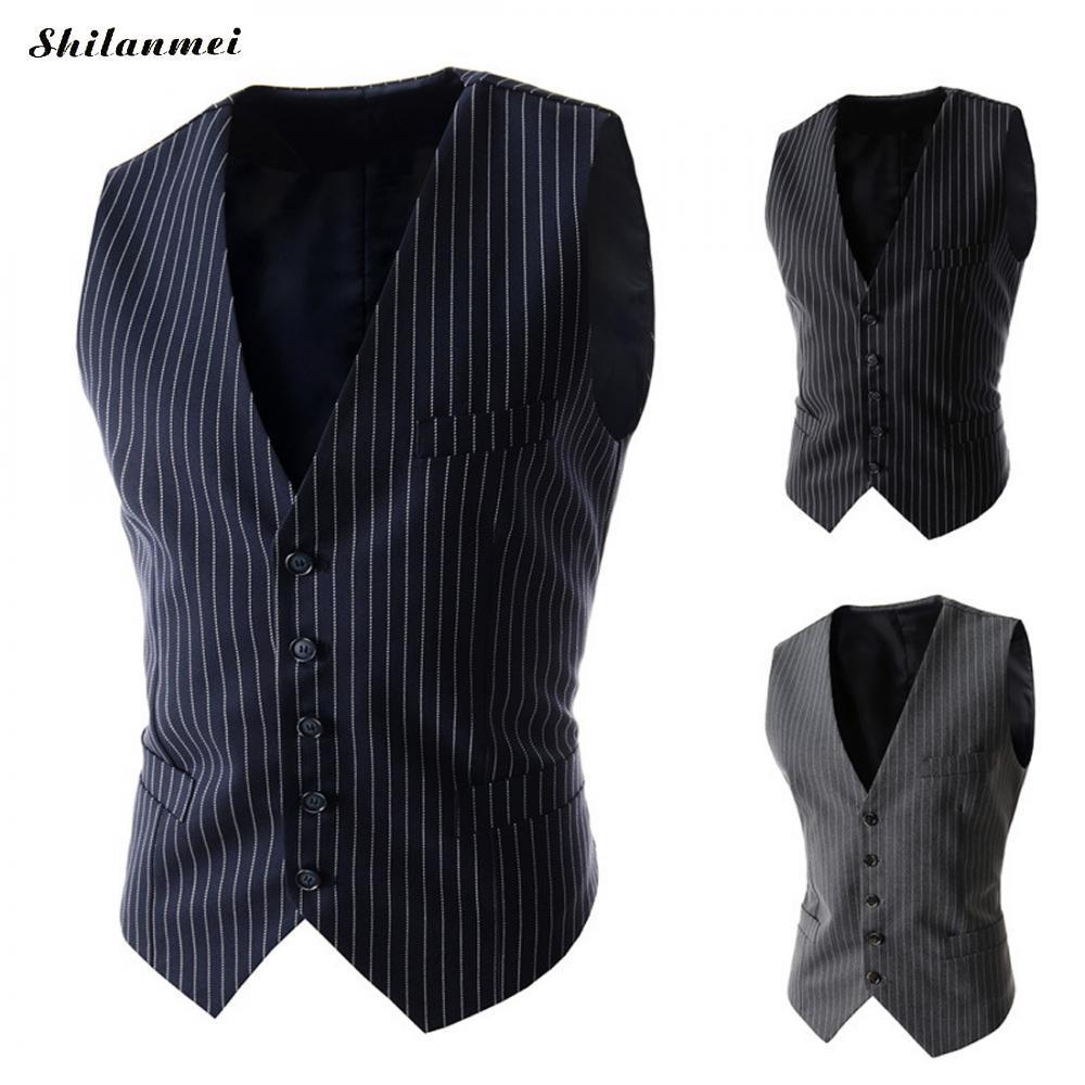 630d1633f Nueva llegada chalecos de rayas para hombres Slim Fit chaleco de traje  masculino Chaleco de hombre Gilet Homme negro sin mangas formal chaqueta de  ...