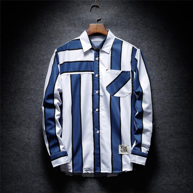 061413591f 2019 Brand New Striped Shirt Pocket Trendy Men Shirt Long Sleeve Patch  Designs Fashion Blue Gray Autumn Casual Mens From Rachaw, $25.23 |  DHgate.Com