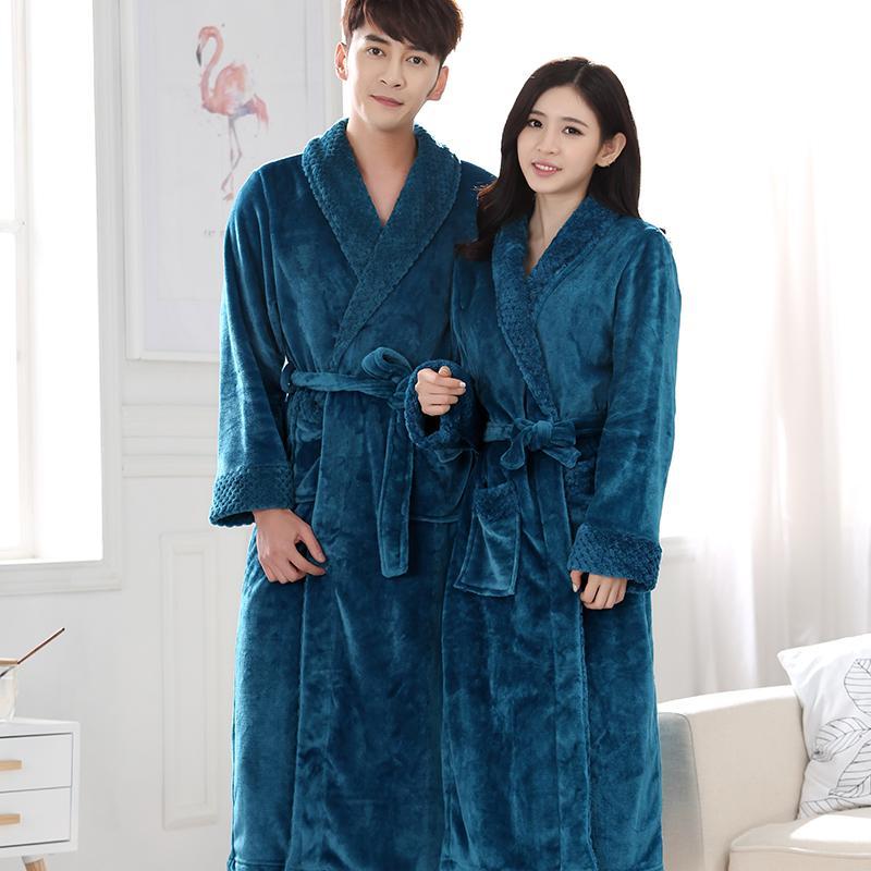 941de6dda8 2019 New Lovers Extra Long Winter Warm Bathrobe Men Lounge Waffle Flannel  Kimono Bath Robe Male Coral Fleece Robes Mens Dressing Gown From Maoyili