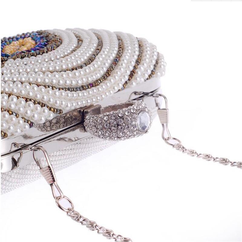 Handmade Pearl Diamond Long Chain Evening Bags Leaf Design Beige Black Ladies Small Day Clutches Fashion Handbags And Purses