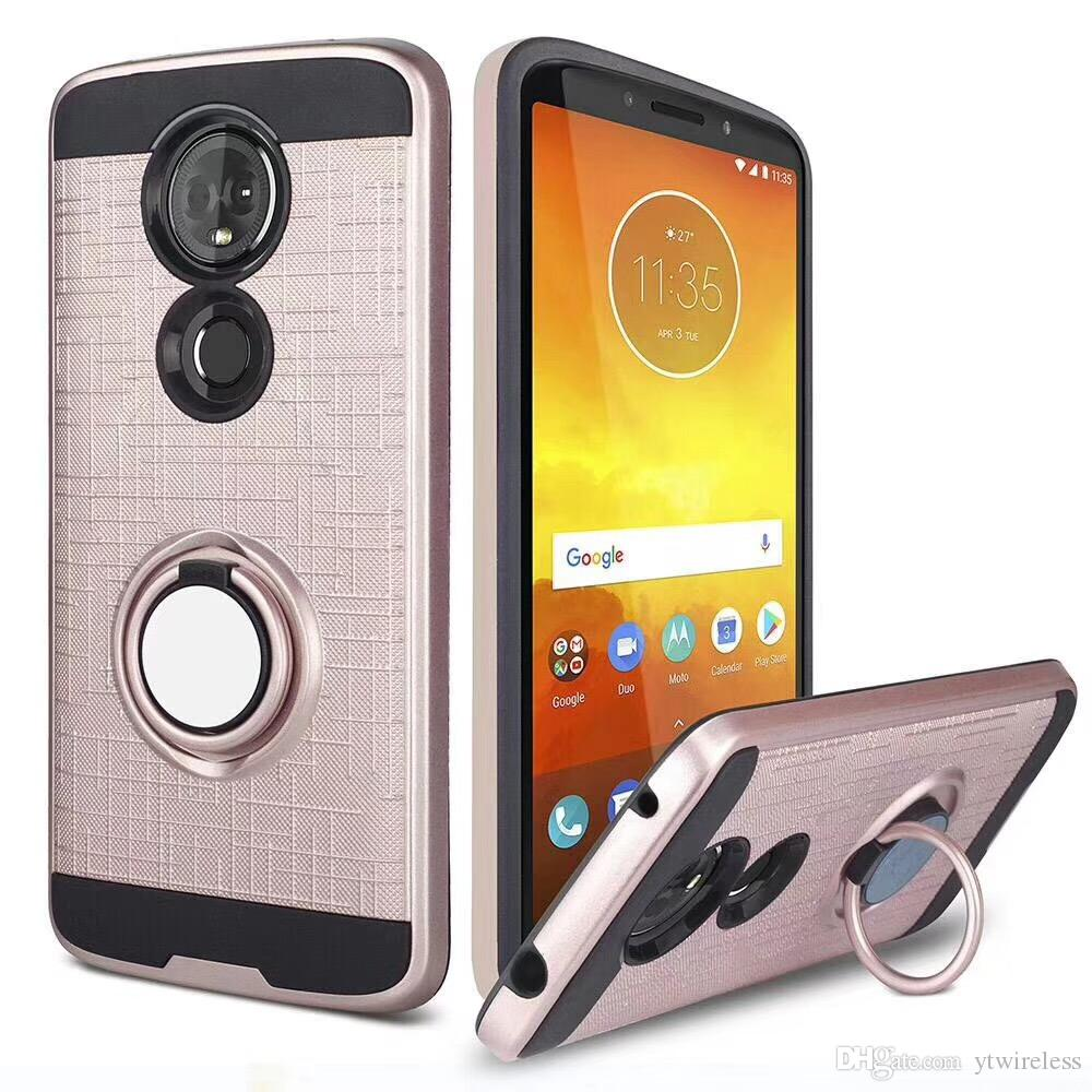 For Alcatel 7 LG Q7 Samsung J3 A6 2018 Achieve J7 Refine Hybrid Defender  Brushed Metal Cell Phone Case With Ring Kickstand Cover