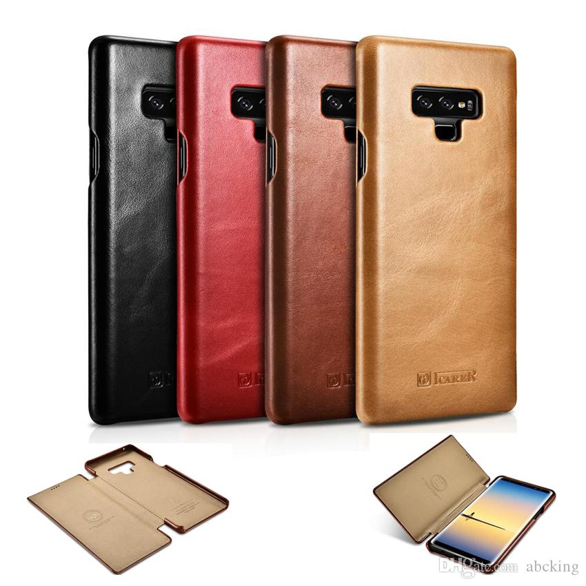 separation shoes 5c592 b13d7 iCarer Luxury Real Leather Cover for Samsung Galaxy Note 9 Note8 S9 S8 Plus  Curved Edge Vintage Series Genuine Leather Case