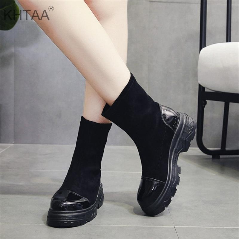 Medium Heels Women Mid Calf Boots Flat Platform Flock Warm Slip On Short  Winter Boots Ladies 2018 New European Female Footwear Pumps Shoes Shoe Boots  From ... 79ed170b86c2