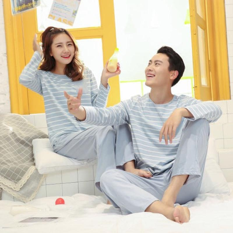 2019 Lovers Pajamas Home Wear Suits Stripes Spring Summer Thin Long Sleeves Knitted  Cotton Men Women Pajamas Factory Direct Sell From Wildrose021 be2b11d8b