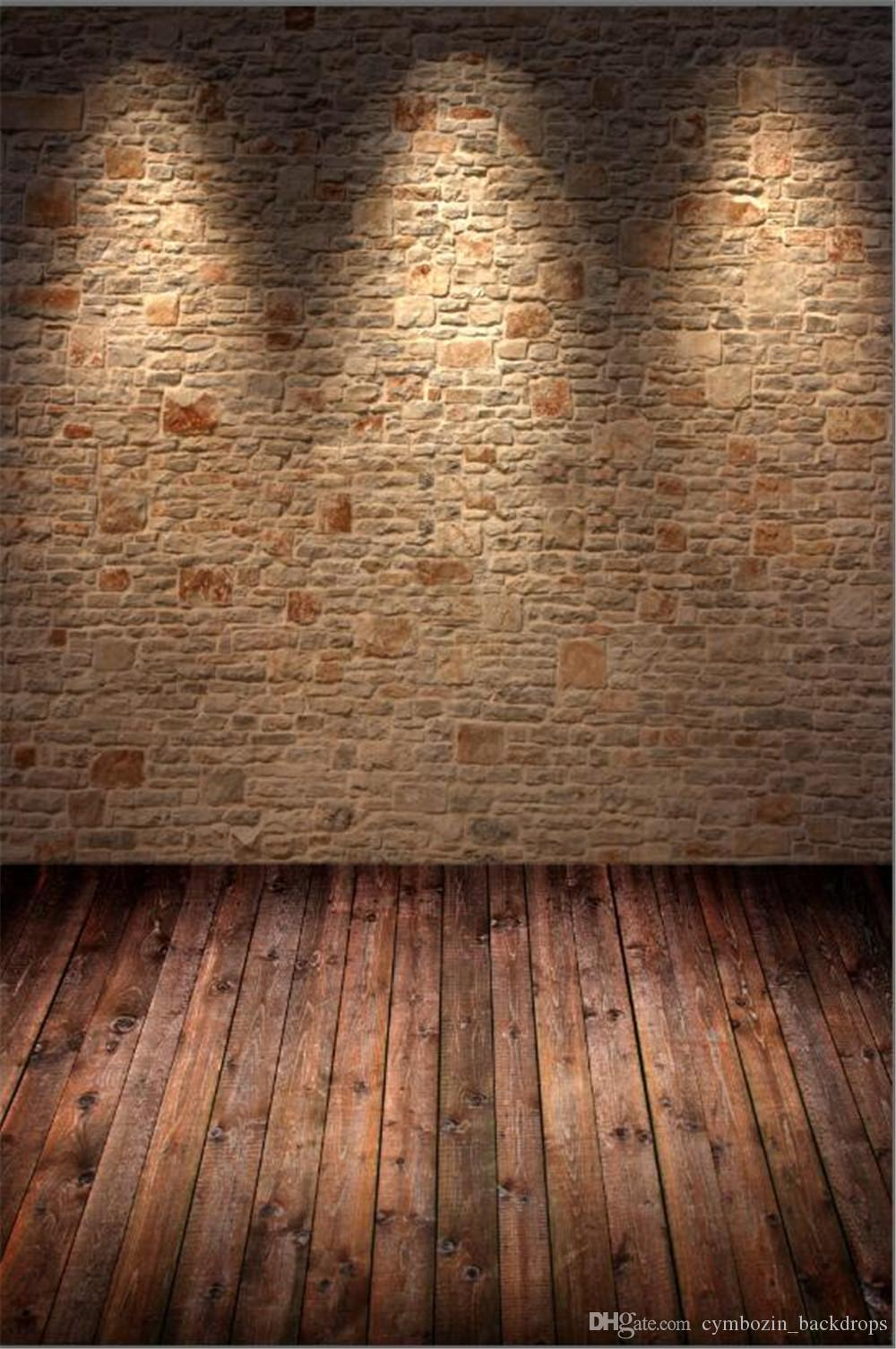 Vintage Brick Wall Wedding Photography Backdrops Brown Wooden Floor Printed Light Interior Room Kids Children Photo Backgrounds for Studio