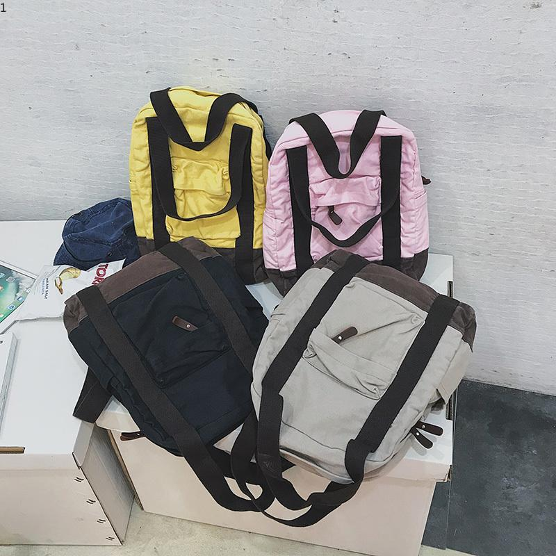 2d6cfd4edb7 Simple College Style Backpack Women Nylon Large Backpacks for Teenage Girls  School Bags Fashion Vintage Black Pink Grey Shoulder Bag