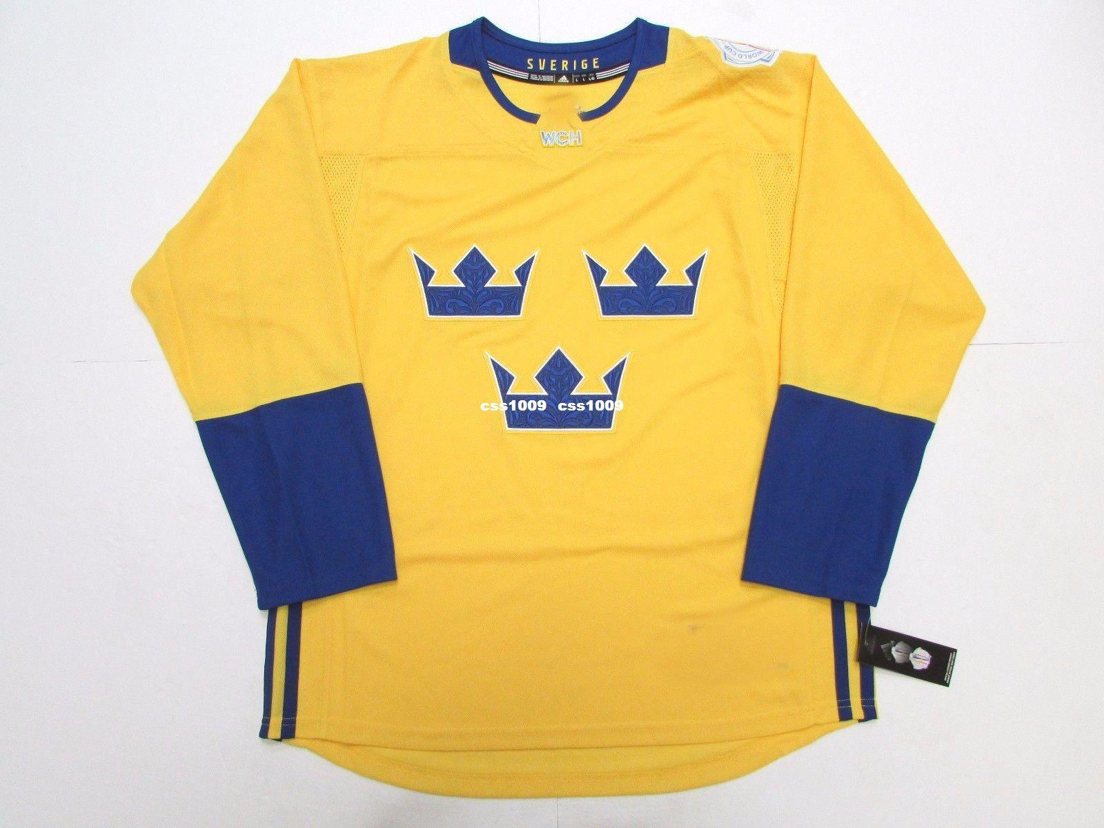 2018 cheap custom team sweden gold 2016 world cup of hockey premier hockey  jersey stitch add 7feb908d4