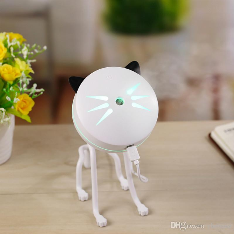 150ML Cute Cat Humidifier Portable USB LED Air Purif Nightlight Essential Oil Diffuser Aromatherapy For Car Office Home Livingroom Desk Lamp