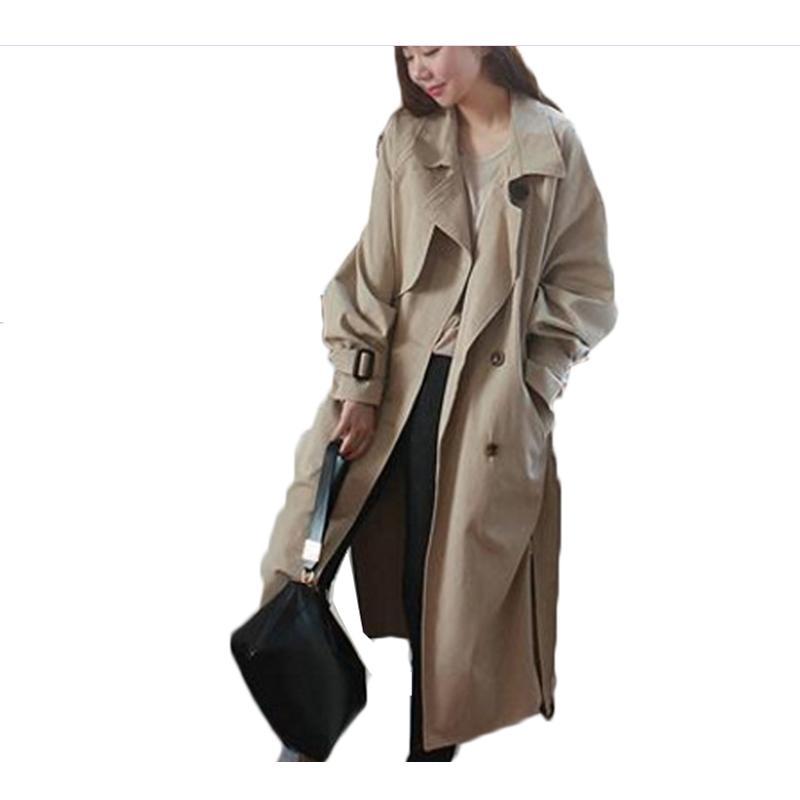 Acheter Long Manteau De Tempérament Féminin Printemps Et Automne 2018  Coréen Lâche Manches Raglan Croisé Côté Split Ceinture Ceinture Trench Coat  De  67.37 ... c9ec0bb2e11