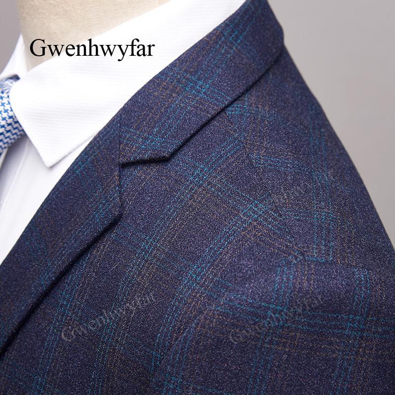 07921905a795 2019 Gwenhwyfar Dark Blue Blazers 2018 Suits Formal Plaid Suit Jacket Slim  Fit Plaid Dress Mens Blazer Masculino Jacket Business Mens From Beatricl
