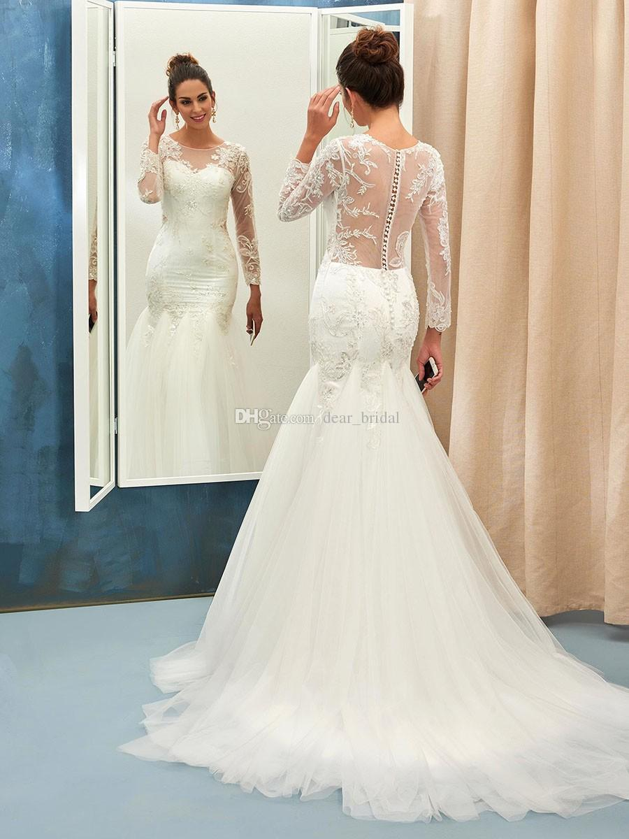 a1da031d7c7 DESCRIPTION. Online Trumpet Mermaid Scoop Neck Tulle Sweep Train Appliques  Lace Long Sleeve Wedding Dresses ...