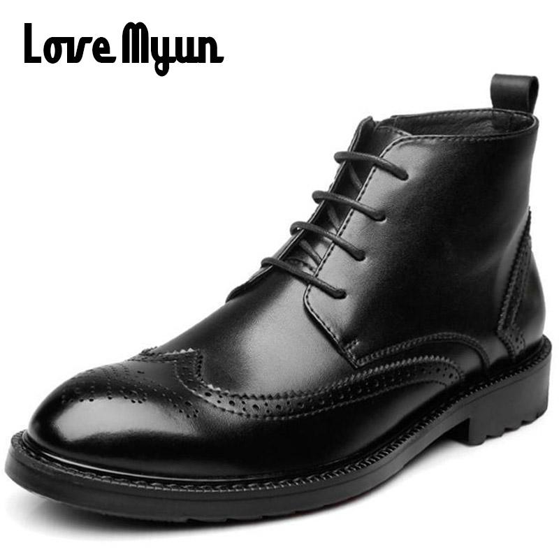 cd9dd5a137cc 2018 New Fashion Mens Ankle Chelsea Boots Retro Carved High Top Lace Up  Leather Motorcycle Boots Men Casual Martin SB 11 Brown Boots Winter Boots  For Women ...