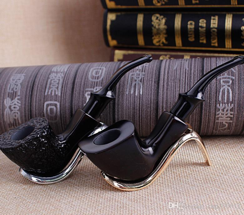 Square black ebony pure black carving pipe, old hammer, portable pipe, curved sandalwood filter solid wooden bucket