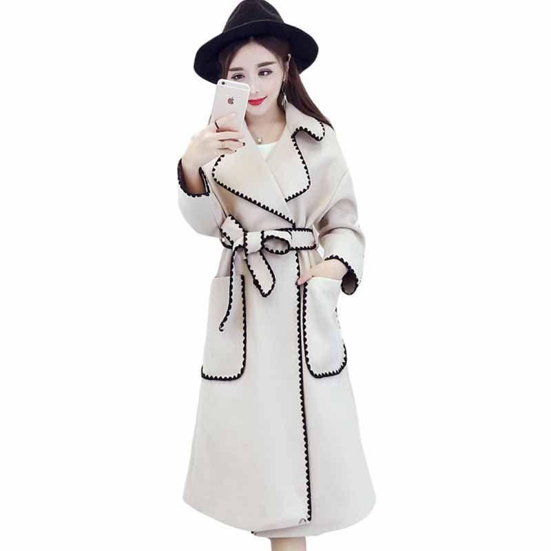 Autummn Korean New Fashion Jacket Black Hit Color Long Sleeve Turn-down Collar Woman's Coat With Belt FA18101M