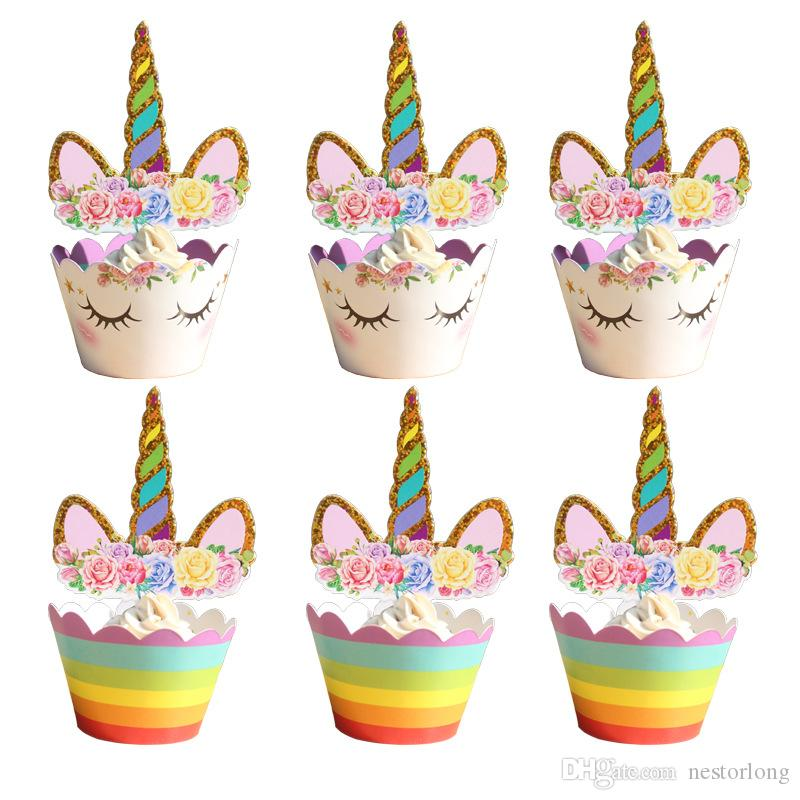 2019 Unicorn Cupcake Toppers And Wrappers Set Cake Toppers ...