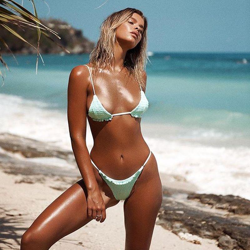 f2ea4a78ab 2019 2018 Sexy Swimsuit Sexy Pleated Triangle Bikinis Women Swimwear Two  Piece Brazillian Bikini Set Bathing Suit Summer Beach Wear Biquini From  Dfbeauty, ...