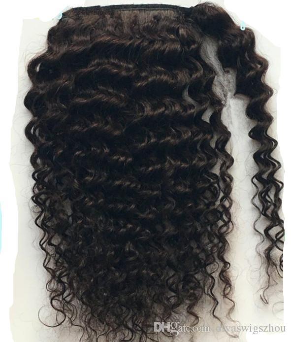 Кудрявый вьющиеся человеческие волосы хвост расширения кудрявый вьющиеся шнурок человеческих волос хвост шиньоны природные вьющиеся клип в хвост 16 дюймов