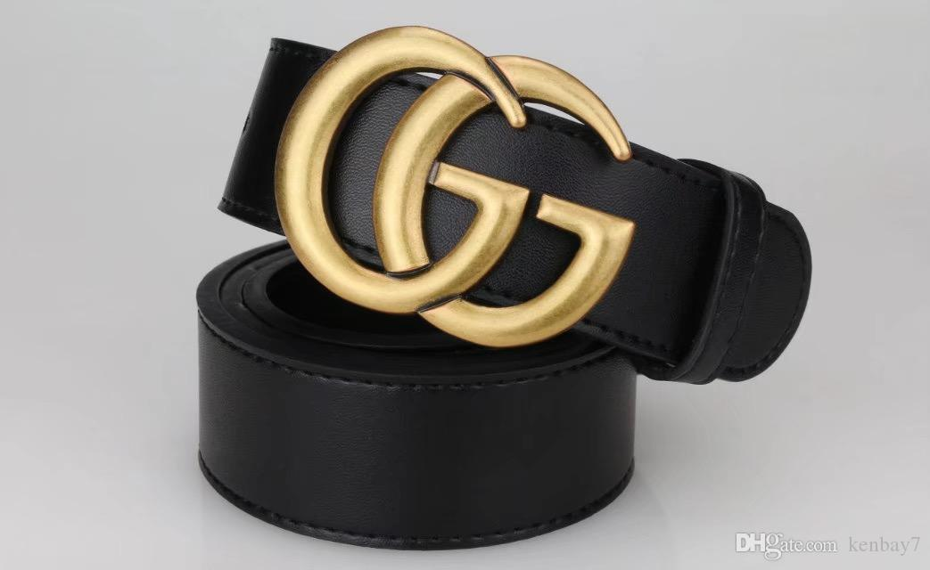 2018 Top Qualität Glatte Schnalle G ** CI Echtes Leder männer Frauen Gürtel Breites Rindsleder großes logo italien Schnalle Niet Gürtel Für männer Ceintur