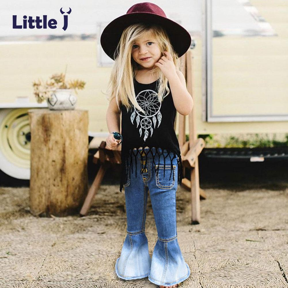 Little J Girls Bell-bottomed Vintage Jeans Spring Autumn Children Trousers Outfits Baby Costume Fashion Kids Boot Cut Pants