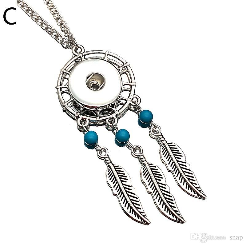 Interchangeable 245 Dreamcatcher Necklace Pendant Necklace Fit 12mm 18mm Buttons Women Charm jewelry With Iron chain Gift