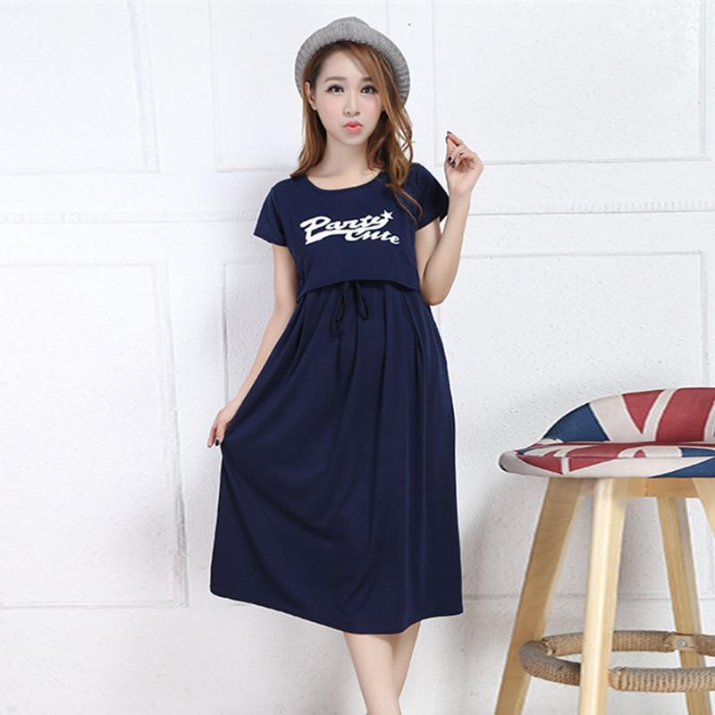 1b9fbc66526 2019 Summer Korean Fashion Maternity Nursing Long Dress Breastfeeding  Clothes For Pregnant Women Cotton Pregnancy From Paradise02