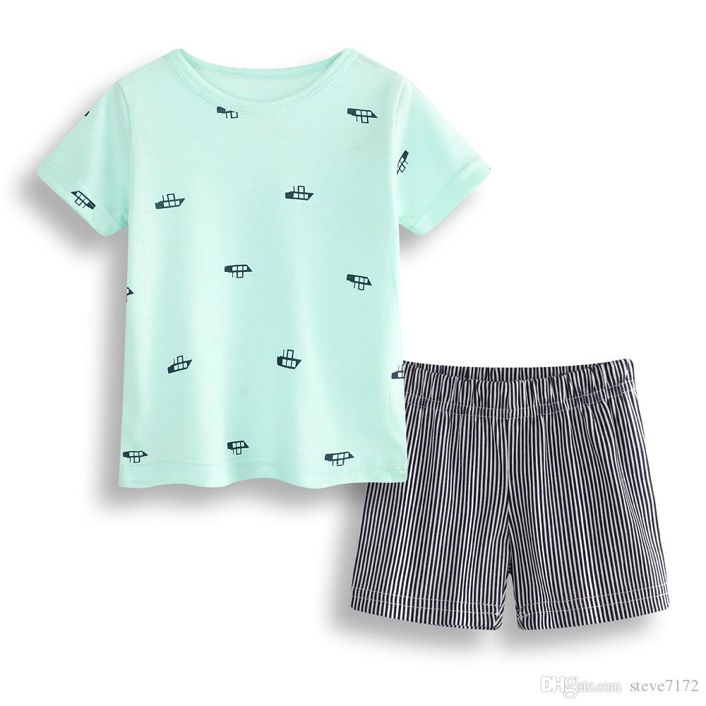 2018 Boats Baby Clothes Set 100 Cotton Newborn T Shirts Stripe Pant
