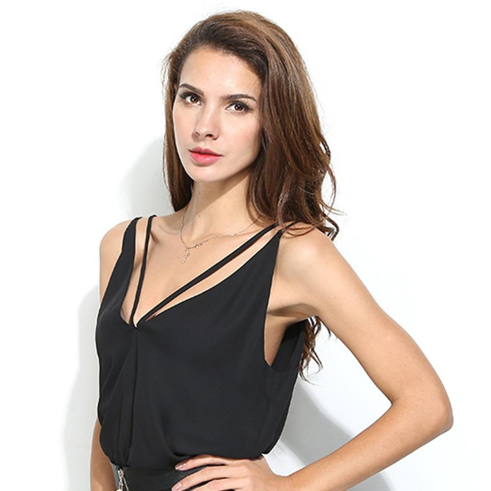 2019 Women V Neck Backless Camisole Summer Chiffon Tops Sexy Casual Black  Strappy Camisole Female Blusa Cropped Feminino From Chencloth66 3b1f19583