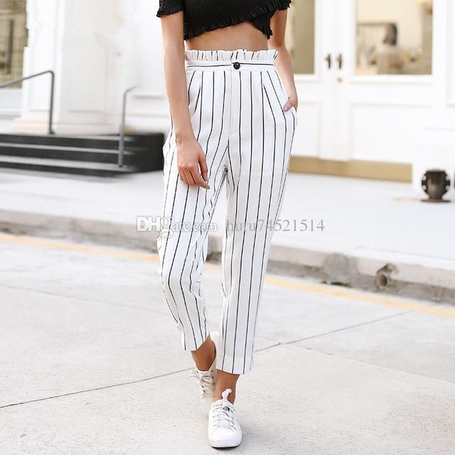 81a6012b3f2 2019 Streetwear Striped Harem Pants Capri Ruffle Loose Casual Pants Women  2018 Summer Trousers High Waist Pants Bottom From Hutu74521514