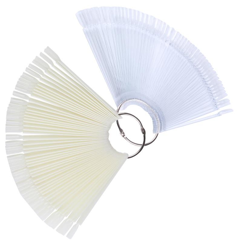 50Pcs Fan Shape Display Transparent False Nail Tips Color Card Nail Art Practice Display Tools DIY Manicure