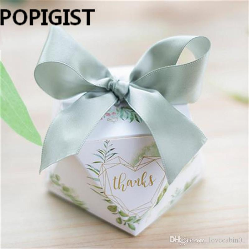 European Diamond Shape Green Forest Style Candy Boxes Wedding Favors