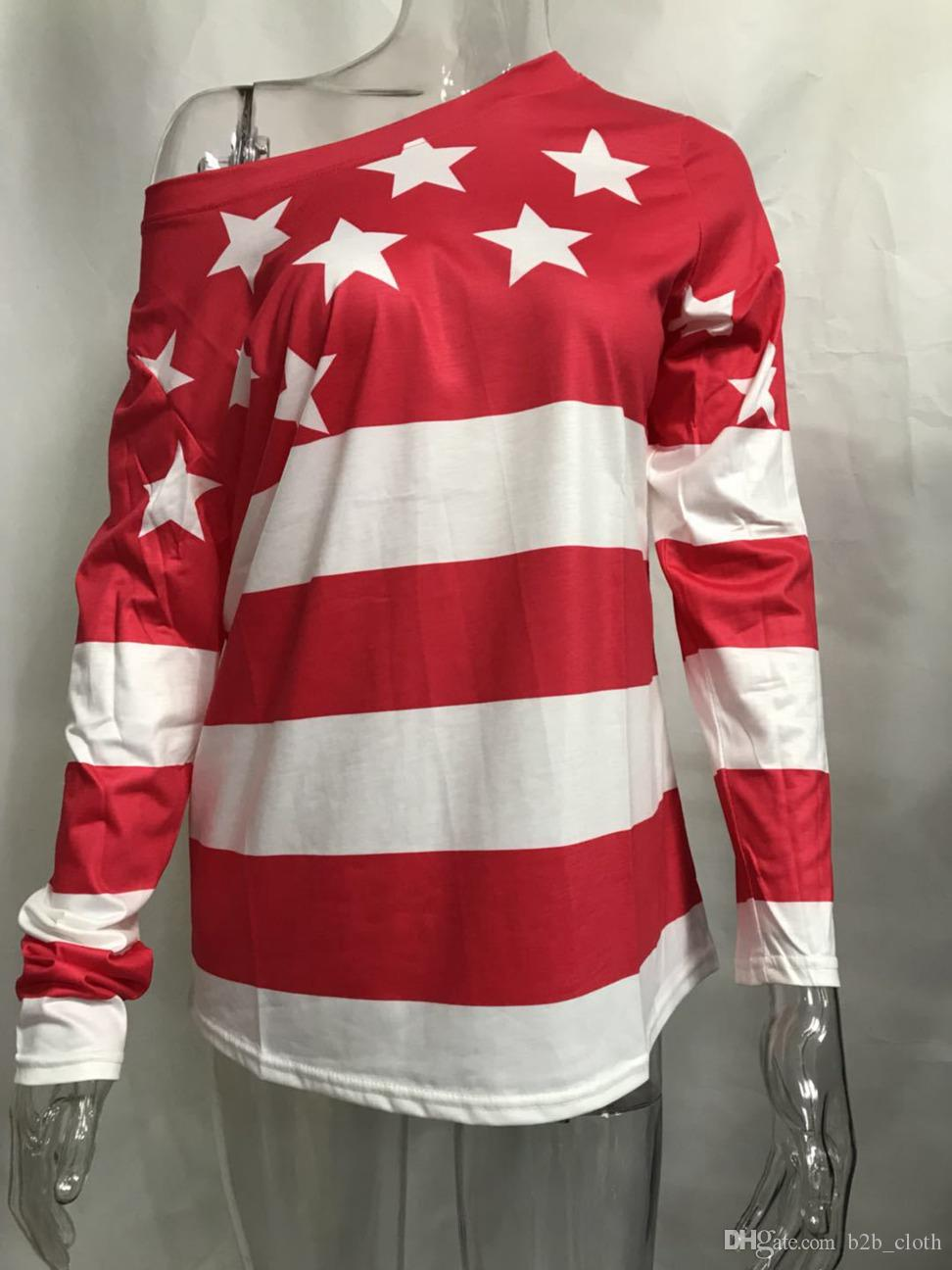 e75fe31acf8 Women Clothes Fashion Knitted O Neck Long Sleeve USA Flag T Shirt For Lady  Casual Tee Tops CNY483 Cheap T Shirt Design Your T Shirt From B2b_cloth, ...