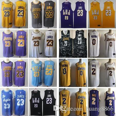 59896f40e377 2018 2019 New Los Angeles Lakers  23 LeBron James Jersey 2 Lonzo ...