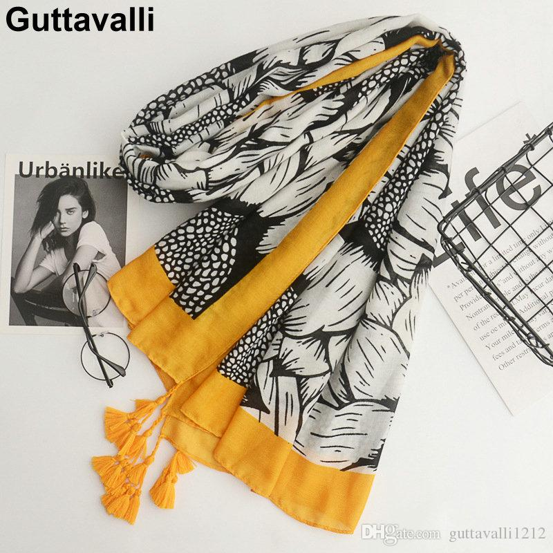 Guttavalli Women Sunflowers Cotton Tassels Long Shawl Female Skinny Floral Wrap Chevron Sunscreen Yellow Ends Dots Plant Scarves