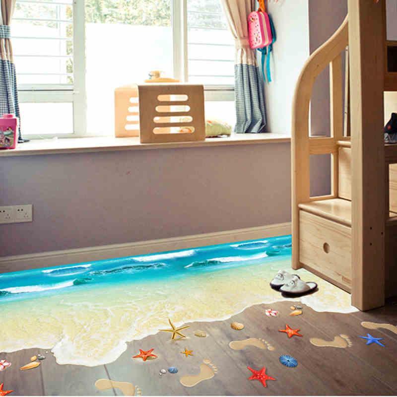 3d Effekt Boden Aufkleber Seestern Fußabdruck Meer Strand Wandaufkleber Für Kinderzimmer Badezimmer Vinilos Paredes Wohnkultur Aufkleber Kunst