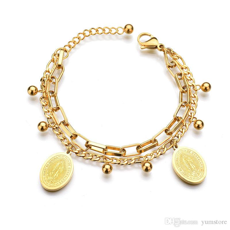 31da0a27cfd27 Hot Women Bracelet Stainless Steel Chain Bracelet With Religious Virgin  Mary Tag Charms Gold Plated Bracelets For Girls