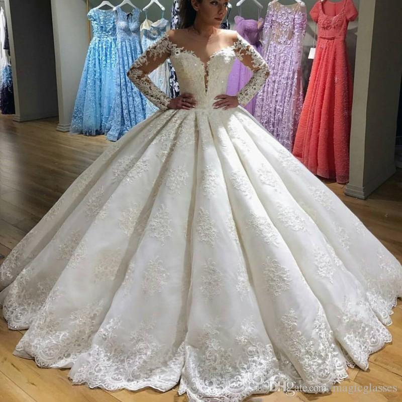 Romantic White Lace Ball Gown Wedding Dresses Sheer Long Sleeves ...