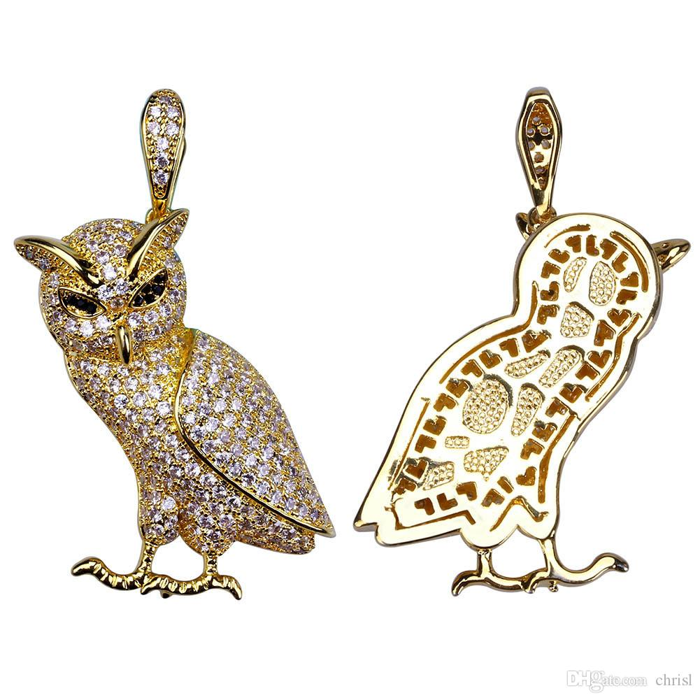 Hip Hop Iced Out Gold ans Silver Plated Micro Pave Cz Stone Animal Owl Pendants Necklace Gift for Women