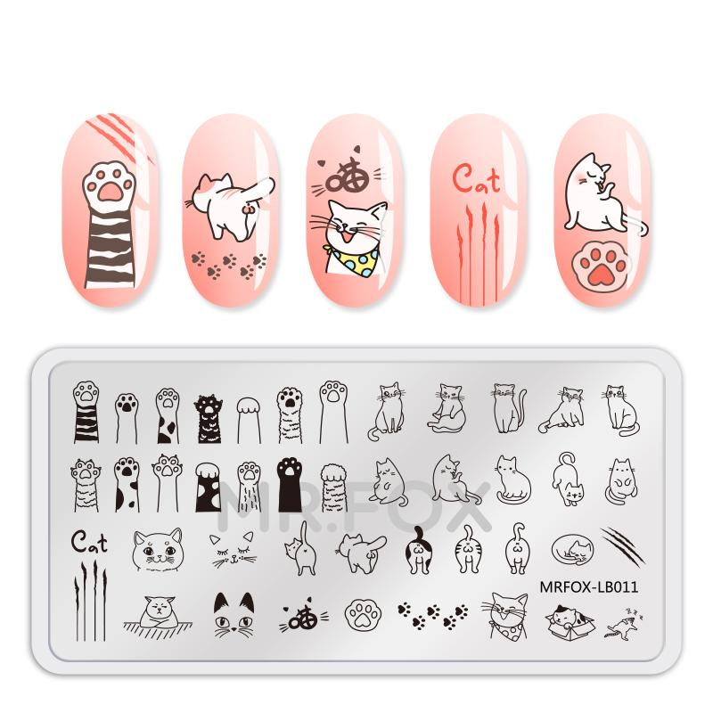 Nail Stamping Template Animal Fruit Dog Cat Unicorn Feather Flower ...