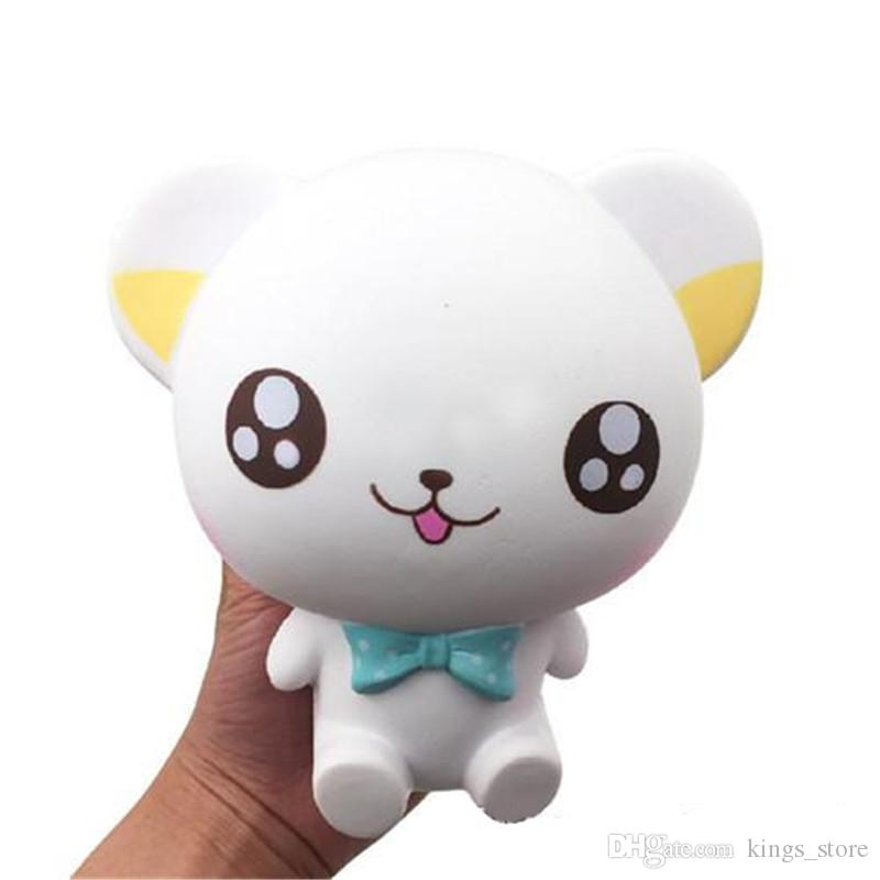 Squishy Large Smile Cat Sitting Cat Jumbo 16cm Slow Rising Bread Relieve Stress Cake Kawaii Food Strap Phone Pendant KeyChain Toy Gift