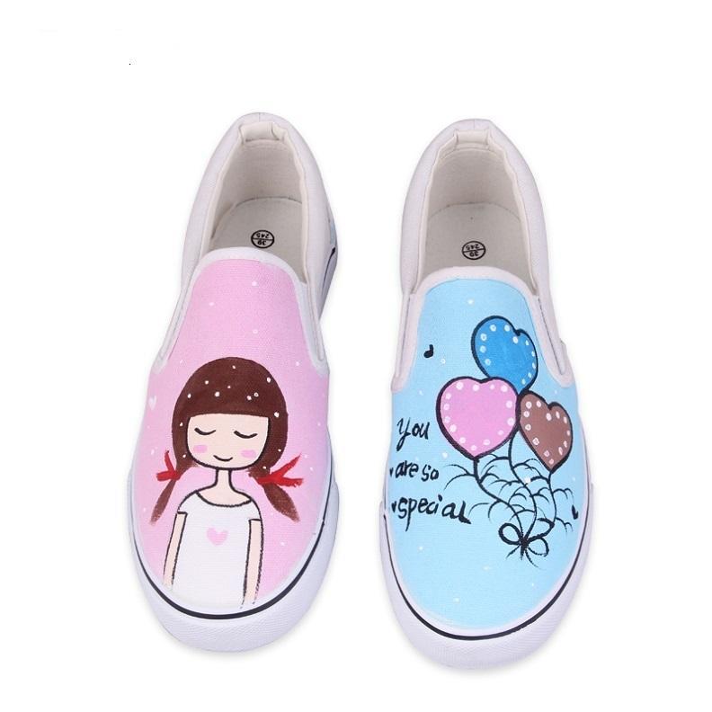 Compre 2019 Zapatos Personalizados Casuales Pintados A Mano De Conejo Chica  Que Envuelve La Plataforma Del Pedal Del Pie De Las Mujeres Zapatos De Lona  ... ee2ee426bfcb
