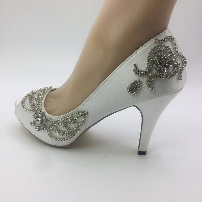 1555c4ff025b Handmade Women Wedding Shoes Ivory Ribbon Bride Wedding Dresses Diamond Lace  Manual Wedding Wedge Peep Toe Sandals Uk Wedding Shoes Used Bridal Shoes  From ...