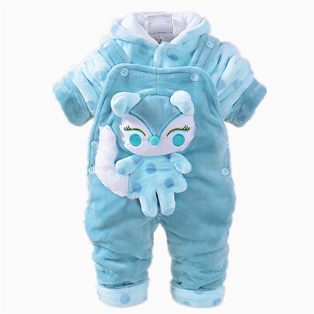 3-18m vestuário de bebê inverno conjuntos 3d raposa animal casaco com capuz + calça jumpsuits crianças twinset manga comprida veludo Roupas recém-nascidos
