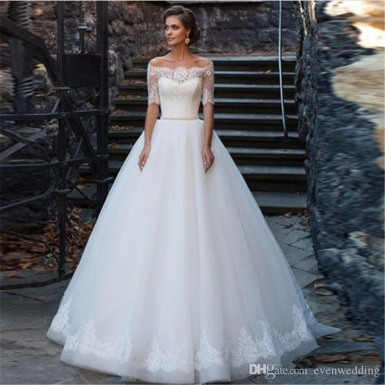 하프 슬리브 레이스 Tulle 라인 웨딩 드레스 2018 Bateau Neck Bridal Gowns Floor Length Bridal Dresses