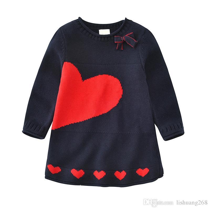 90d40cadc 2018 Autumn Winter Girls Sweater Dress Cartoon Dog Kids Baby Sweater ...