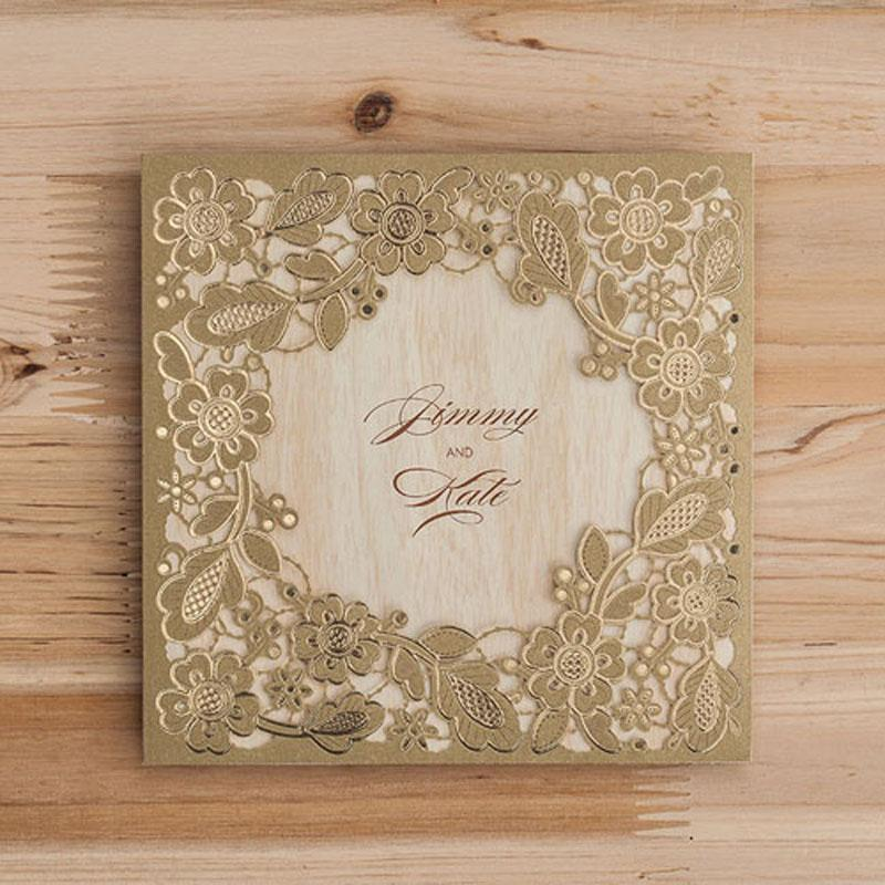 Gold Marriage Wedding Invitations Cards Laser Cut 3D Card Greeting Cards Invite Friends Postcard Event & Party Supplies Online Greeting Card Online Greeting ...