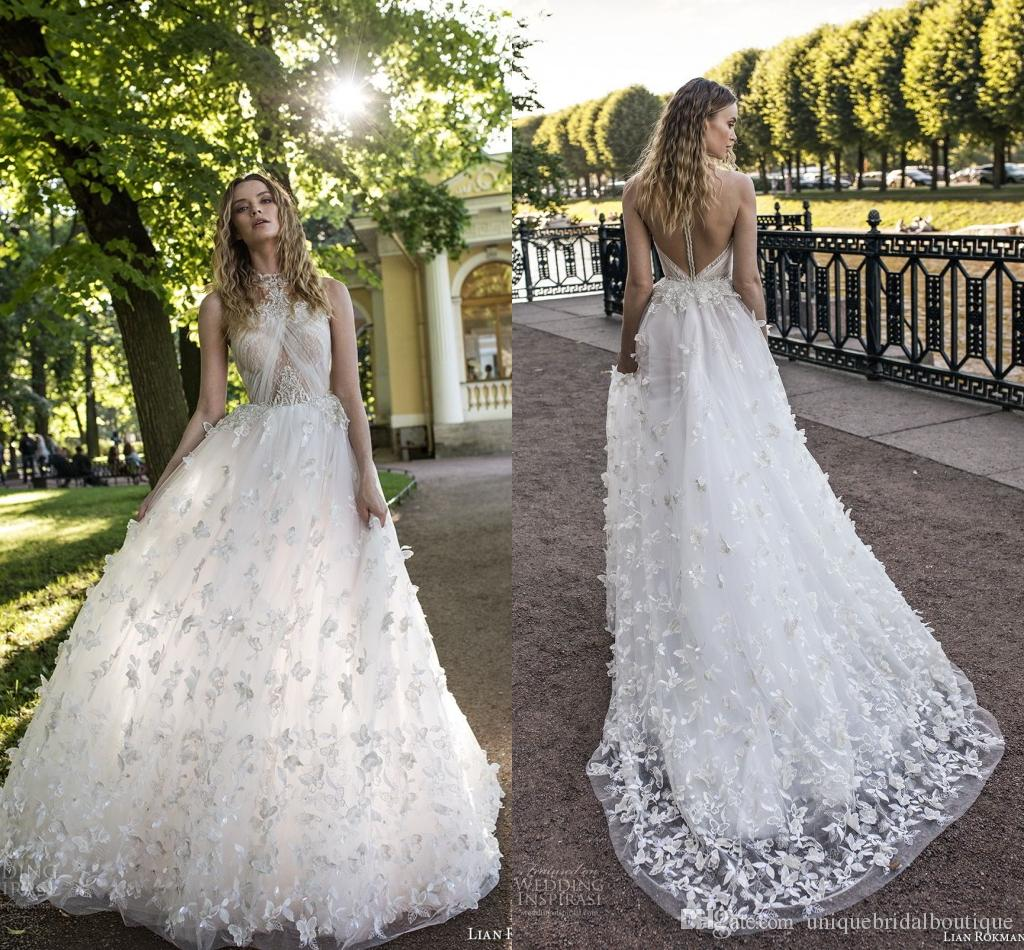Butterfly Wedding Gown: Butterfly Wedding Dresses 2018 Lian Rokman 3D Appliques