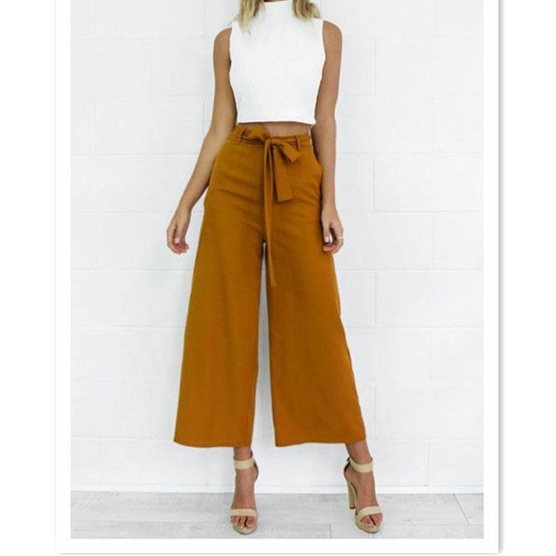 df001804f5eaa 2018 Spring Summer Fashion High Waist Wide Leg Pants Female Plus Size Loose  Casual Ankle Length Trousers For Women UK 2019 From Modeng01